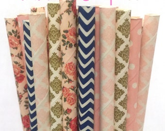 2.85 US Shipping -Floral Paper Straws with a Pop of Navy - Gold and Pink and Flower Straws - Cake Pop Sticks - Drinking Straws