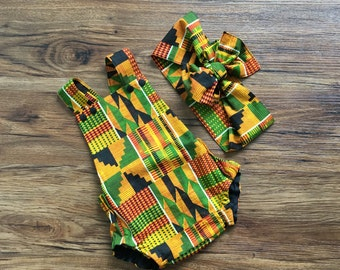 African Kente Baby Romper, Girls Romper, Head Wrap, Tribal, Hair Bow, African Baby Clothes, Baby Rompers, Newborn Romper