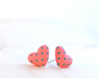 Coral pink heart stud earrings ~ Salmon pink earrings ~ Valentine gifts for women ~ Pink jewelry ~ Heart shaped stud earrings for women