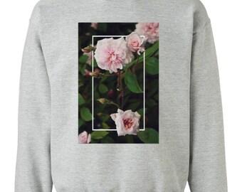 Geometric Floral Rose Graphic Photography Sweatshirt