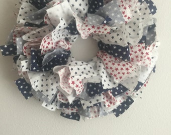 SALE // red white and blue stars fabric wreath // 4th of july wreath // fabric wreath // patriotic // summer decor