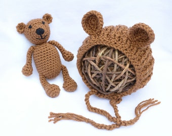 Crochet Bear Hat and Stuffie, Baby Bear Bonnet and Stuffie Set, Photo Prop, Baby Gift