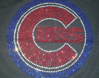 Chicago Cubs Logo Applique Bling Rhinestone