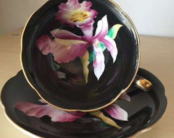 Japanese Black Vintage Teacup and Saucer, Hand Painted Purple Orchid Iris Tea Cup and Saucer, Japan Floral Porcelain China