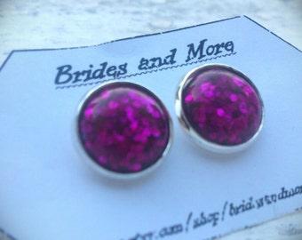Purple Studs Purple Earrings Glitter Earrings Glitter Studs Purple Jewelry Emo Jewelry Emo Earrings Emo Studs Glittery Jewelry Sparkly Studs