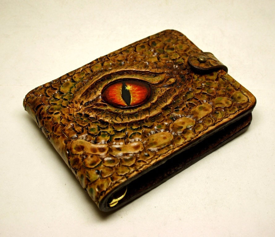 Hand tooled leather wallet money clip carved