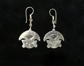 Tribal Face 925 Silver Earrings