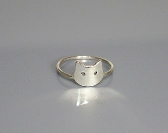 Ring, Cat Face, Cat Face Ring, Silver Ring