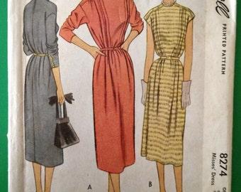Vintage McCall 8274, 1950 Dress, Uncut Pattern, Size 12-14-16, One Size Dress, Front Tucks Drop Shoulder , 3/4 Length or Short Drop Shoulder