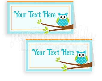 Blue Pokla Dot Owls Printable Tent Cards, Printable Buffet Cards, Cute Owl Party Printables, owl Food Labels, Owl Party, Cards Blank