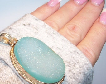 Turquoise Colored Drusy Druzy Pendant. Large Silver Gem Pendant. Healing stone. Statement Pendant. Boho Pendant. Gypsy Silver Pendant.