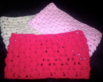 Pink Snood, Cerise Snood, Cream Snood, Crocheted Snood, Childs Snood, Pink Cowl, Cerise Snood, Chunky Snood, Scarves, Gift For Her, Cowl