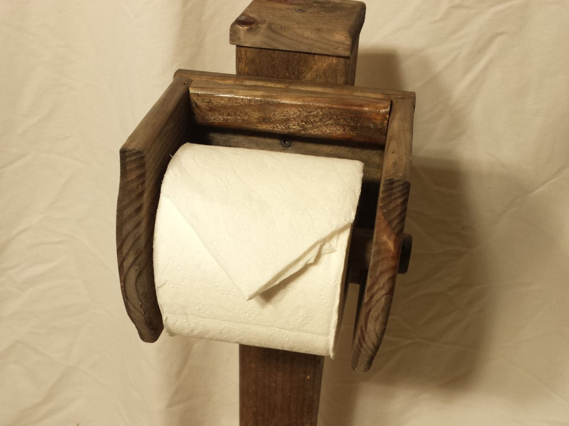 Toilet Paper Holder Stand Floor Stand Natural Rustic Horz