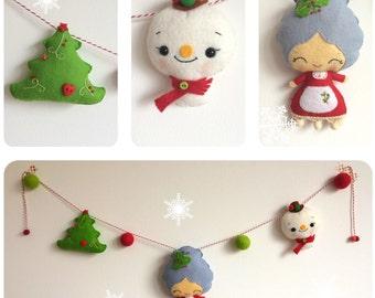Christmas bunting, garland, Mrs. Santa, snowman, Christmas tree