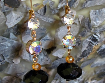 Iridescent Faceted Crystal with Faceted Black Acrylic Beads ~ Gold Leverback Earrings