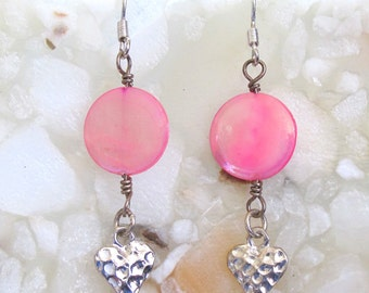 Wire-wrapped Pink Mother-Of-Pearl Disc with Silver Heart Charms ~ French Hook Earrings