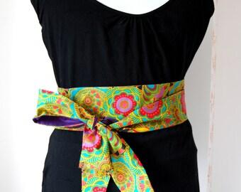 Obi belt fabric coloured flowers