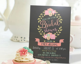Floral Bridal Shower Invitation - Personalized Printable DIGITAL FILE