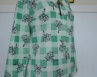 Vintage Mint Green Plaid/Flower Button-down