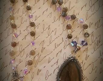 Handmade Labrodite and Swarovski Crystal necklace.