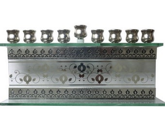 "Glass Rectangle Hanukkah Menorah ""Pomegranates"""