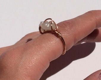 size 6 COPPER // MOONSTONE wrapped ring