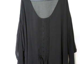 Vintage 1990s Black Sheer Chiffon Oversized Drapey Batwing Blouse Top with Button and Pleat Tuxedo Detailing and Handkerchief Hem
