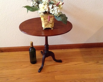Antique Oval Tilt Top Table, Mahogany Table, Side Table, End Table, Wood Table, Wine Table