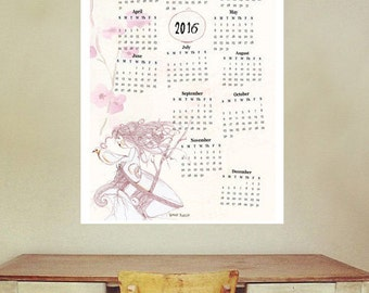 Items Similar To Wall Calendar 2016 Home Decor Doodle A3 A3 Size 100 Recycled Paper