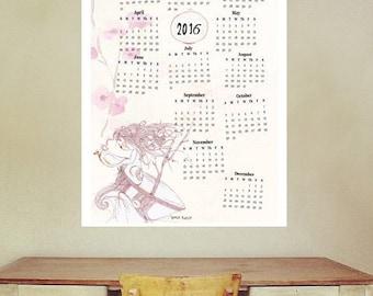 2016 Printable Calendar,Large Illustrated  Calendar, Wall calendar 2016, Instant Download, poster calendar,Printable,  Illustrated calendar
