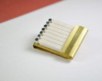 Matchsticks brooch. Porcelain, golden brass. Matches, matchbook, matchbox, match. Contemporary jewelry. Porcelain jewel. Ceramic brooch