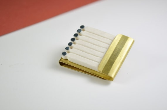 Matchsticks brooch. Porcelain, golden brass. Matches, matchbook, matchbox, match. Contemporary jewelry. Porcelain jewel. Ceramic brooch