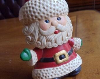 Vintage Hand Painted Santa Claus Figurine, Cute Blue Eyes Santa With Extra Long Red Stocking Cap Ceramic Figurine, Christmas Decor, 1970s'