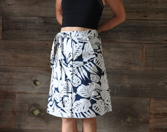 A-Line Skirt - Wrap Skirt - Pockets - Navy and White - Floral