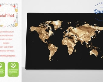 Gold World Map on Black Canvas Print / FREE SHIPPING / home decor, world map, custom world map, pattern world map, canvas art, map print