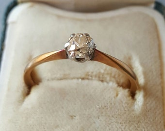Antique Victorian Rose Cut Diamond Solitaire 22K Gold Ring Engagement Ring Size 8.50