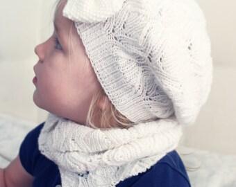 Girls knit hat - Spring hat - Slouchy beanie - Merino wool hat - Toddler hats girls - Girls beret - White hat - Hand knit hat - Thin