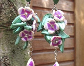Flower earrings Violet flowers earrings green leaves Clip on flower earrings Floral earrings Gift for her Uniqe gift Flower jewelry
