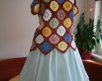 colorful crotcheted blouse