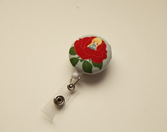 Red Lotus Kawaii Retractable ID Badge Reel - FREE SHIPPING with another purchase - Name Badge, Tag, Nurse , Teacher Badge Holder