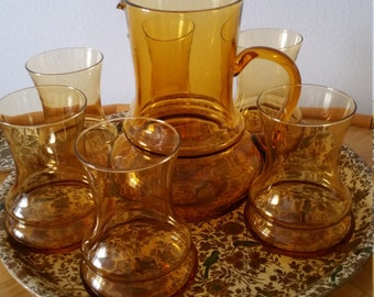 Vintage Mid Century Italian Amber Glass Pitcher with 6 Glasses - Groovy Curvy Colony Glass with a 1960s Vibe