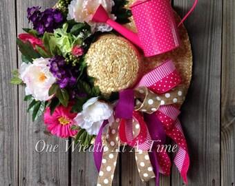 Spring Garden Hat Wreath