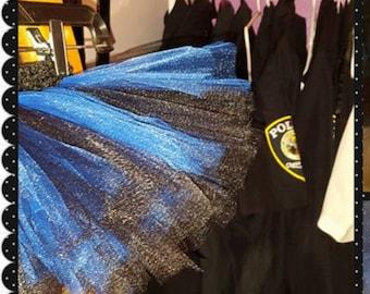 Thin blue line tutu, law enforcement, LEO tutu, black and blue tutu, childrens tutu, toddler tutu, baby tutu, tutu skirt, custom tutu dress,