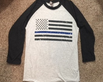 Thin Blue Line Triblend Raglan