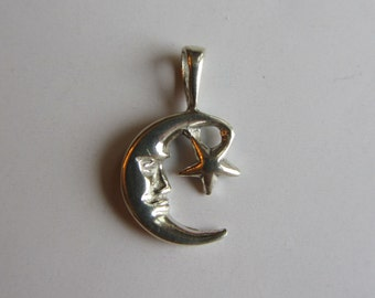Sterling Silver Moon Star Charm
