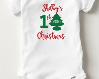 New Parent Gift- Personalized First Christmas Onesie - Baby Toddler Short / Long Sleeve Onesie or Toddler/Kids Shirt