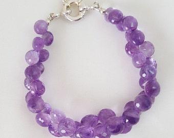 Amethyst Gemstones, Sterling Silver bracelet