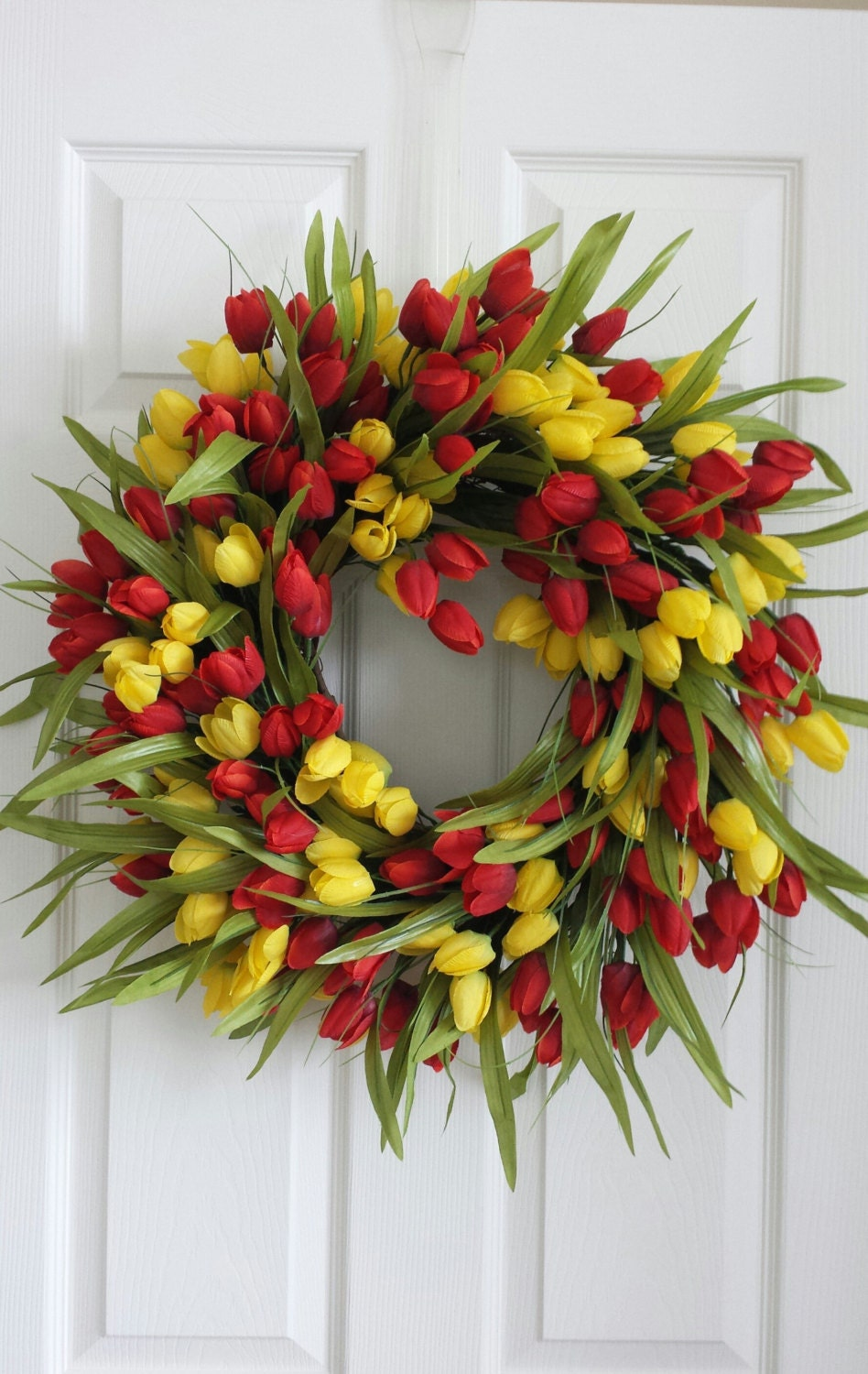 red and yellow spring tulip wreath spring front door wreath. Black Bedroom Furniture Sets. Home Design Ideas