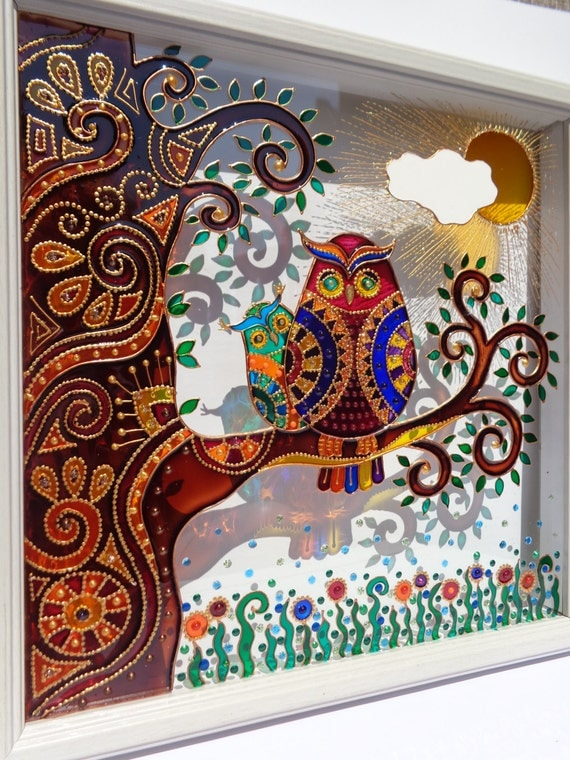 Owl baby art 10x10 glass painting wall decor for Best glass painting designs