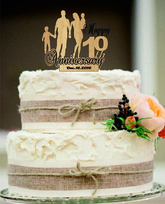 10 Th Anniversary Cake Topper Personalized Rustic Wedding